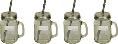 Devnow Handle Jar With Silver Lid And Straw 473 ml Bottle