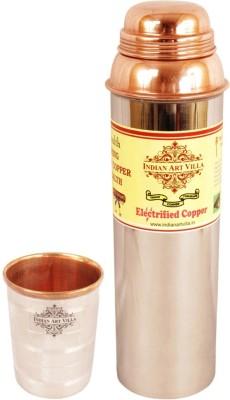 Indian Art Villa 1 Steel Copper Water Bottle with 1 Steel Copper Glass 1150 ml Bottle
