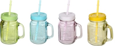 Devnow Handle jar country style with lid and straw,4 color 473 ml Bottle