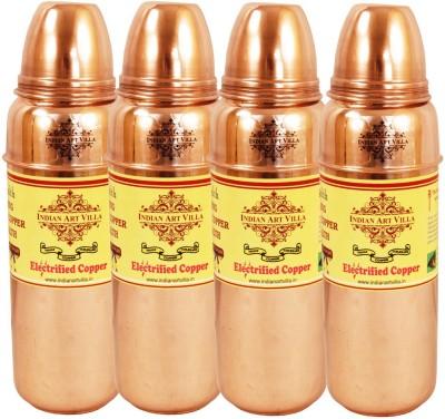 Indian Art Villa Pure Copper Set of 4 Water Bottle Storage Water Good Health Yoga Ayurveda 2800 ml Bottle