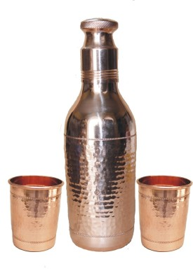 VEDA HOME & LIFESTYLE COPPER HAMMERED WATER BOTTLE & GLASS SET 1400 ml Bottle