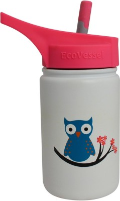 Eco Vessel Scout, Kids Bottle with Straw Top - 13 oz - White with Owl 400 ml Bottle
