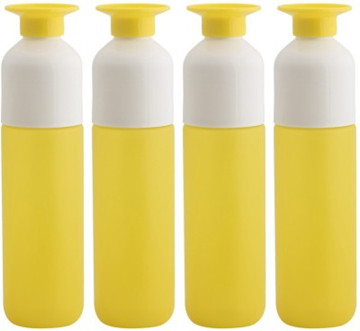 Minura Set of 4 Trendy Yellow Water Upside down design with inbuilt cup - H73 750 ml Bottle