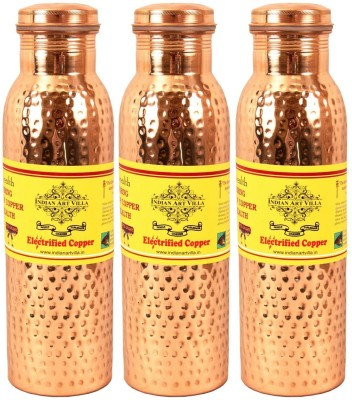 IndianArtVilla Set of 3 Copper Leak Proof Joint Free Thermos Design Water 1650 ml Bottle(Pack of 3, Brown)