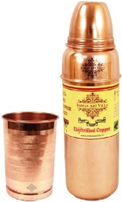 Indian Art Villa 1 Pure Copper Thermose Design Bottle with 1 Pure Copper Glass 1000 ml Bottle