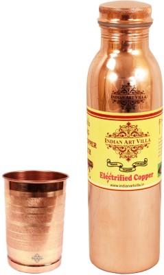 Indian Art Villa 1 Copper Q7 Leak Proof Joint Free Bottle with 1 Pure Copper Glass 1200 ml Bottle