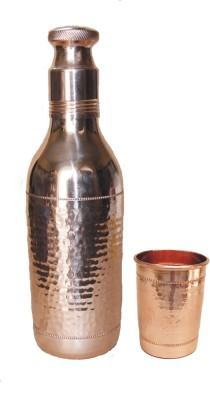 VEDA HOME & LIFESTYLE COPPER HAMMERED BOTTLE WITH 1 COPPER GLASS 1200 ml Bottle