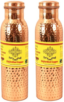 IndianArtVilla Set of 2 Copper Leak Proof Joint Free Thermos Design Water 1100 ml Bottle(Pack of 2, Brown)
