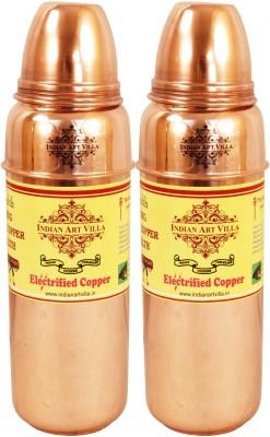 Indian Art Villa Pure Copper Set of 2 Water Bottle Storage Water Good Health Yoga Ayurveda 1400 ml Bottle