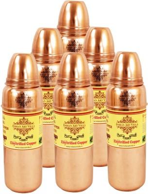 Indian Art Villa Pure Copper Set of 6 Water Bottle Storage Water Good Health Yoga Ayurveda 4200 ml Bottle