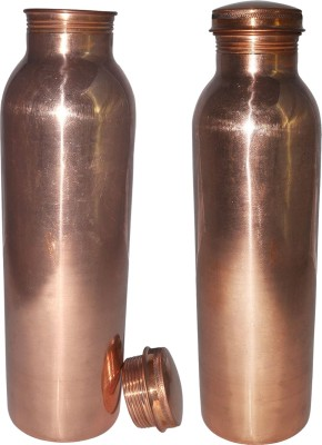 Prisha India Craft Set of 2, Pure Copper Water Thermos Joint Less Best Quality for Ayurvedic Health Benefits 600 ml Bottle
