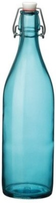 Satyam Kraft Designer High Quality Freeze Safe Air Tight Flip Cap Color Glass Water Bottle - Blue 1000 ml Bottle