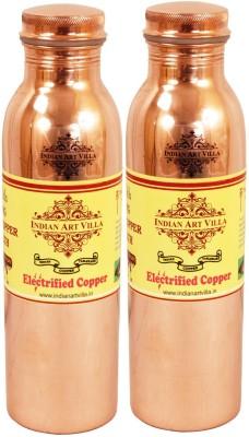 Indian Art Villa Pure Copper Leak Proof joint free Set of 2 Water Bottle Yoga Ayurveda 1800 ml Bottle