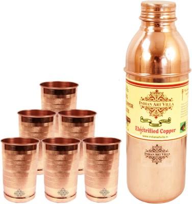 Indian art villa 1 Pure Copper Fanta Design Bottle with 6 Pure Copper Glass 2500 ml Bottle