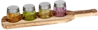 Devnow Set of 4 small jar with lid, wood base 80 ml Bottle
