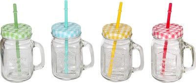 Devnow Country Candy Jars w/handle, 4 color straw, 4 color lid 473 ml Bottle
