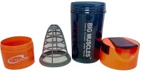 BIG Muscle Protein 500 ml Shaker(Pack of 1, Black, Orange)