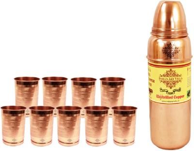 Indian Art Villa 1 Copper Thermose Design Bottle with 9 Pure Copper Glass 3400 ml Bottle