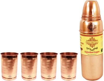 Indian art villa 1 Pure Copper Thermos Design Bottle with 4 Copper Glasses 1900 ml Bottle