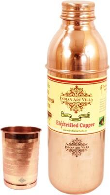 Indian Art Villa 1 Pure Copper Bisleri Design Bottle with 1 Copper Glass 1000 ml Bottle