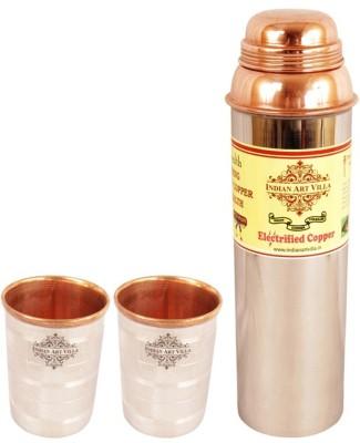 Indian Art Villa 1 Steel Copper Water Bottle with 2 Steel Copper Glass 1400 ml Bottle