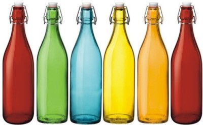 Satyam Kraft Designer High Quality Freeze Safe Air Tight Flip Cap Color Glass Water Bottle - Mix of 6 1000 ml Bottle