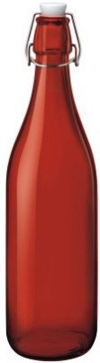Satyam Kraft Designer High Quality Freeze Safe Air Tight Flip Cap Color Glass Water Bottle - Red 1000 ml Bottle