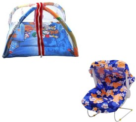 Mofaro Blue Carry Cot Cum Bouncer With Baby Gym(Multicolor)