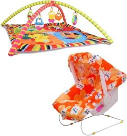 Mofaro Orange Carry Cot Cum Bouncer With Multicolor Baby Gym(Multicolor)