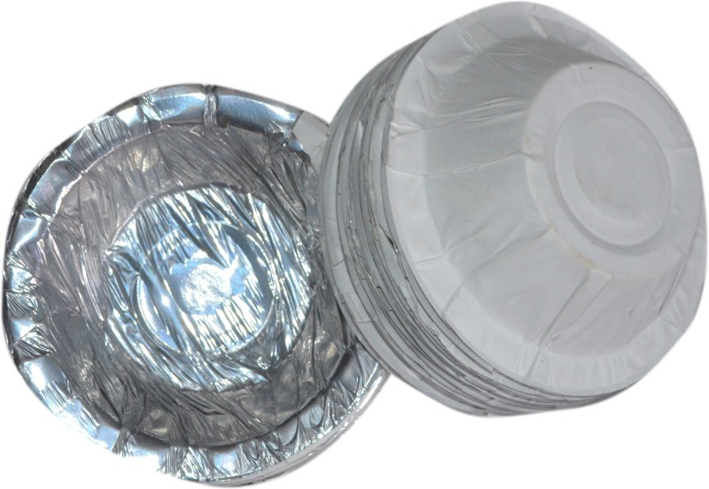 Lakshmi Classic Bowl Paper Disposable Bowl(White, Silver, Pack of 50)