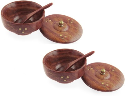 Pindia Fancy Set of 2 With Covering Plate and Free Wooden Spoons Wooden, Brass Bowl Set(Brown, Gold, Pack of 2) at flipkart