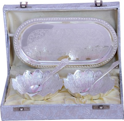 Odna Bichona Silver Plated Flower Shape Bowl Set Pack of 5 Dinner Set at flipkart