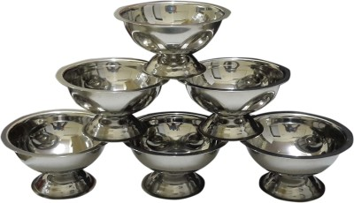 Dynore Set of 6 Ice Cream Cups Stainless Steel Bowl Set(Steel, Pack of 6)