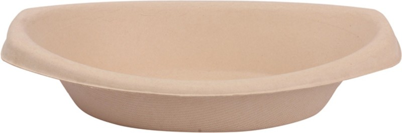 Pappco Greenware 650 ML Multipurpose Oval Bowl (Pack Of 10) Paper Disposable Bowl(Beige, Pack of 10)