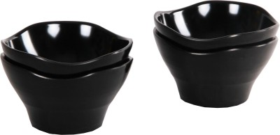 Iveo Solid Waves Snack Melamine Bowl Set(Black, Pack of 4)