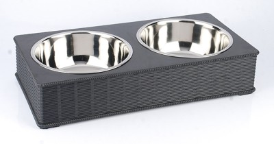 Heureux Bamboo Double Diner Stainless Steel, Polypropylene Bowl Set