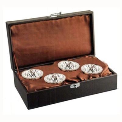 Treta Set of Four Crystal Silver Bowl Set