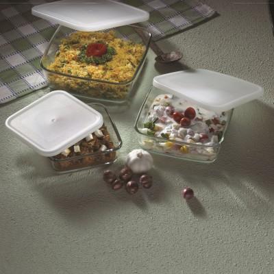 Borosil Square Dish with Lid Set-500 ml +800ml +1.6 l Glass Bowl Set