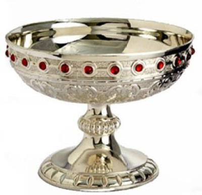 Treta Footed Fruit In 925 Embellished With Color Stones Silver Bowl