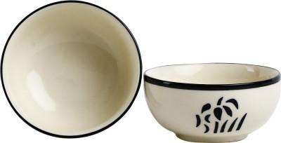 Caffeine Handmade Black Strokes Sculpted Katori Bowl (Set of 2) Stoneware Bowl Set
