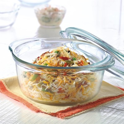 Borosil Deep Round Casserole 2.5 L Glass Bowl(White, Pack of 1)