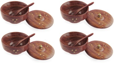 Pindia Wooden Fancy Set of 4 with Covering Plate and Free Wooden Spoons Wooden, Brass Bowl Set(Brown, Gold, Pack of 4) at flipkart