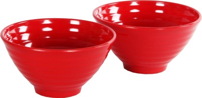 Iveo Solid Popcorn Melamine Bowl Set(Red, Pack of 2)
