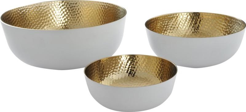 Yudezine Aluminium Disposable Bowl Set(White, Pack of 3)