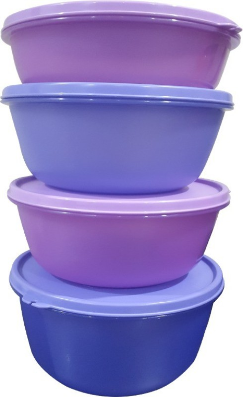 Tupperware Plastic Disposable Bowl Set(Blue, Purple, Pack of 4)