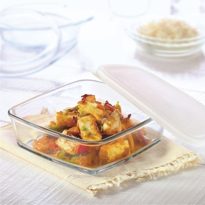 Borosil Square Dish with Lid-800 ml Glass Bowl