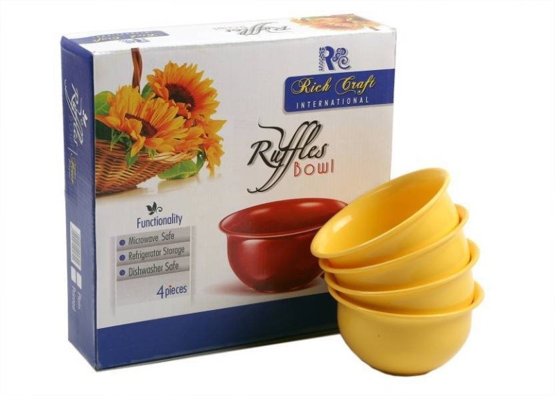 Xudo kitchen classic Plastic Disposable Bowl Set(Yellow, Pack of 4)