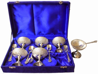 Dekor World Silver Plated Ice Cream Set With Spoon Brass Bowl Set