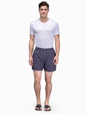 Being Fab Checkered Men's Maroon Boxer Shorts