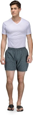 Being Fab Checkered Men's Green Boxer Shorts